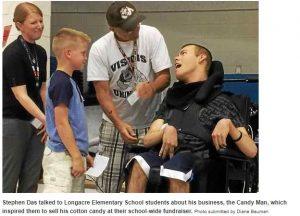 Stephen Das talked to Longacre Elementary School students