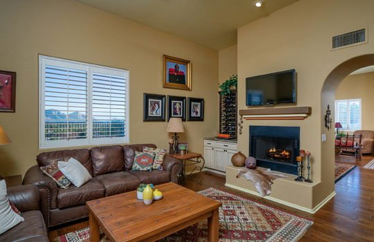 Family Room With Gorgeous Mountain Views, Built In Cabinets and Fireplace