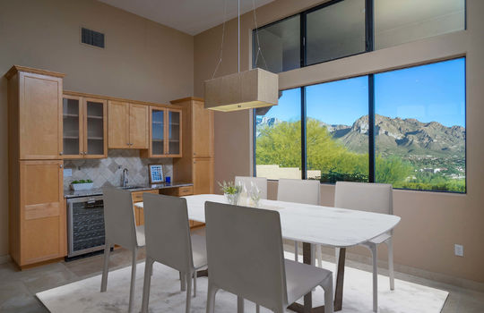 Dining Space With Bar and Wine Fridge- Virtually Staged