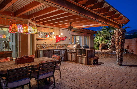 Outdoor Kitchen-Dining at Twilight