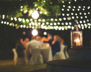 String lights for outdoor dining area.