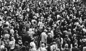 a crowd of people