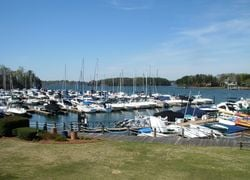 View of boats on Lake Norman at The Peninsula Yacht Club