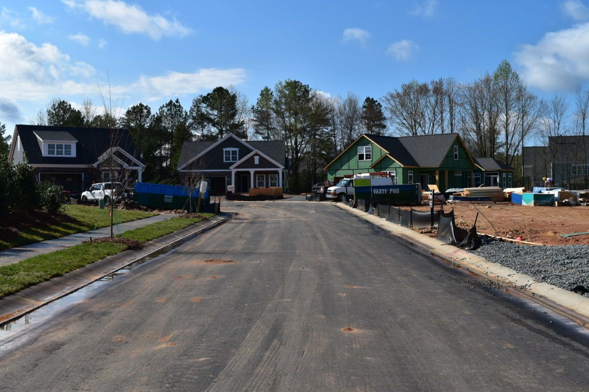 View of homes under construction in The Courtyards On Lake Norman