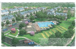 Rendering of the clubhouse and pool of Westbranch in Davidson