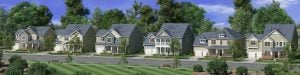 Rendering of front load homes for WestBranch in Davidson