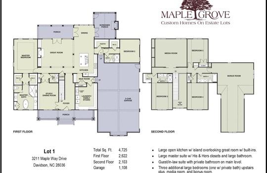Floor Plan - 3211 Maple Way Drive Davidson NC 28036 - Bill Adams Realtor - Allen Adams Realty - Maple Grove