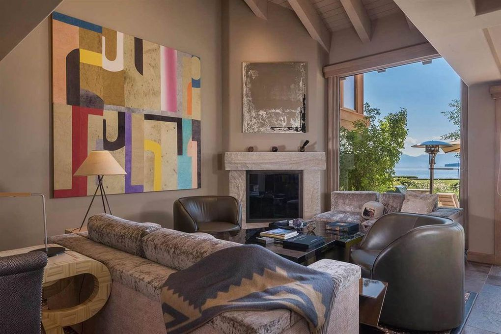 contemporary lake view living room