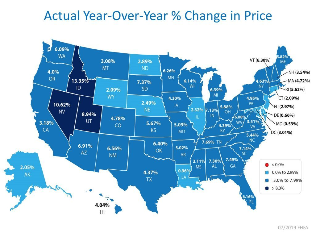 National Home Price Appreciation State by State as of July 2019