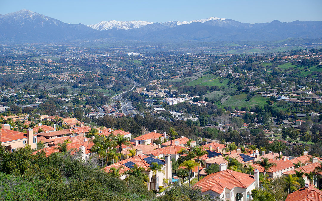 Aerial view of Laguna Niguel CA with mountains in the background