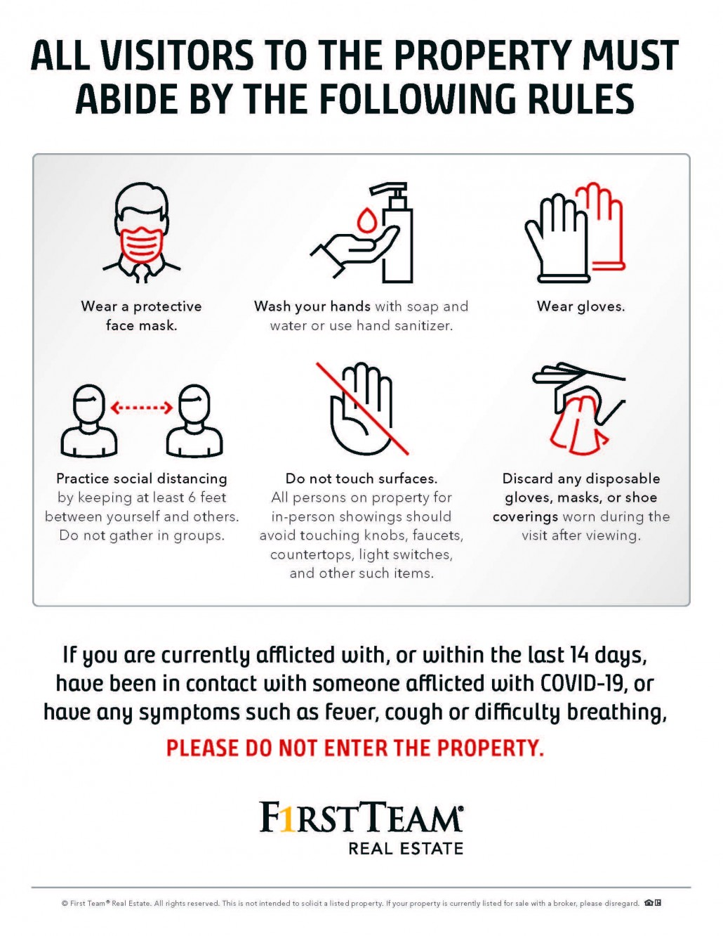 Flyer of safety precautions amid COVID-19 that home sellers are legally obligated to visibly post.
