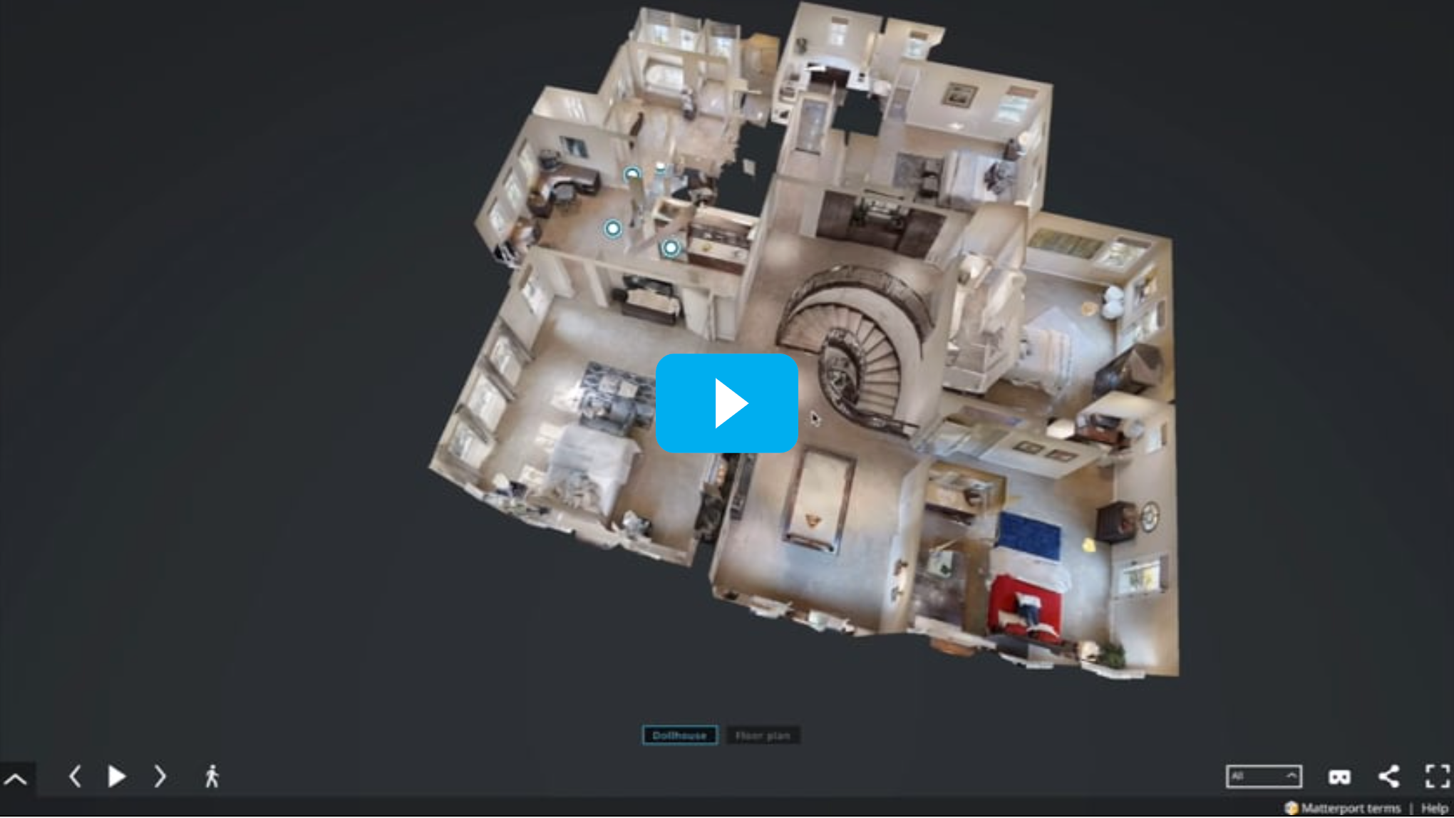 Dollhouse view of 3D Matterport tour with blue play button over house image on black background