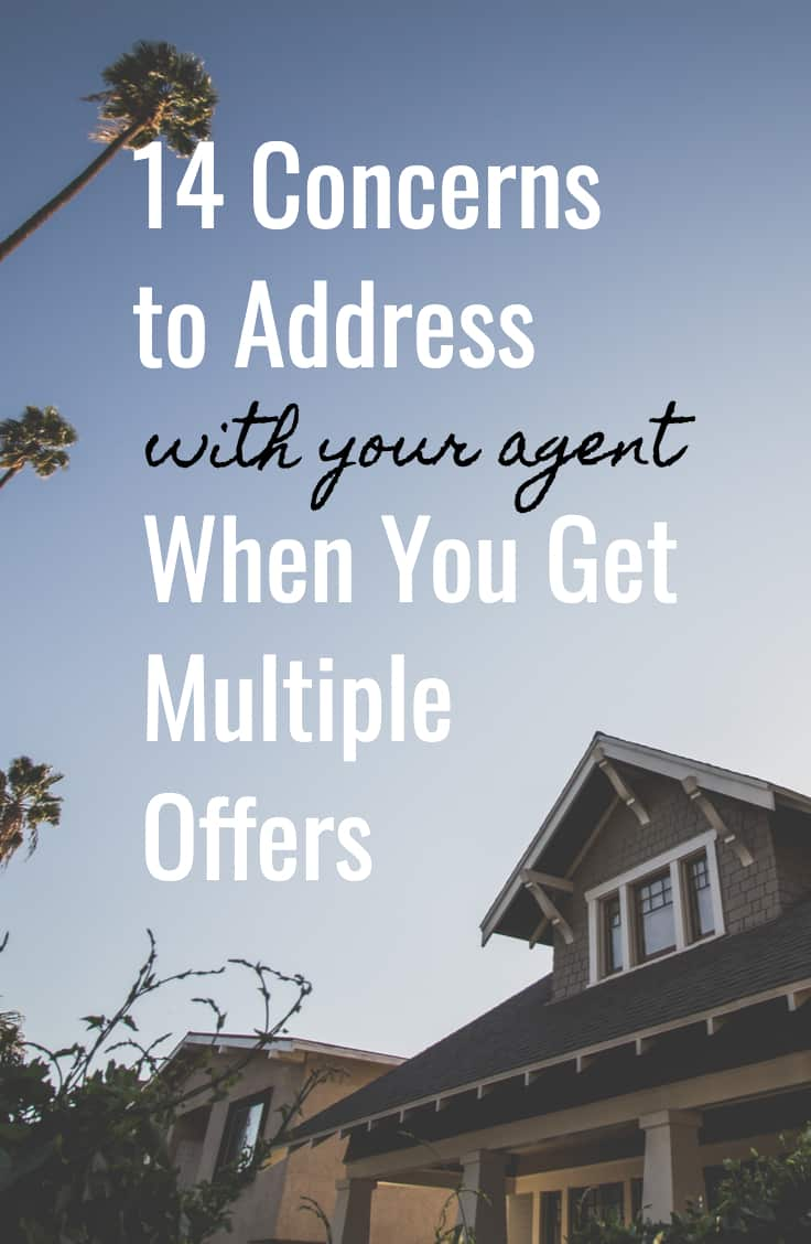 """Sky above house with palm trees. Title reads """"14 Concerns to Address with your agent When You Get Multiple Offers"""""""