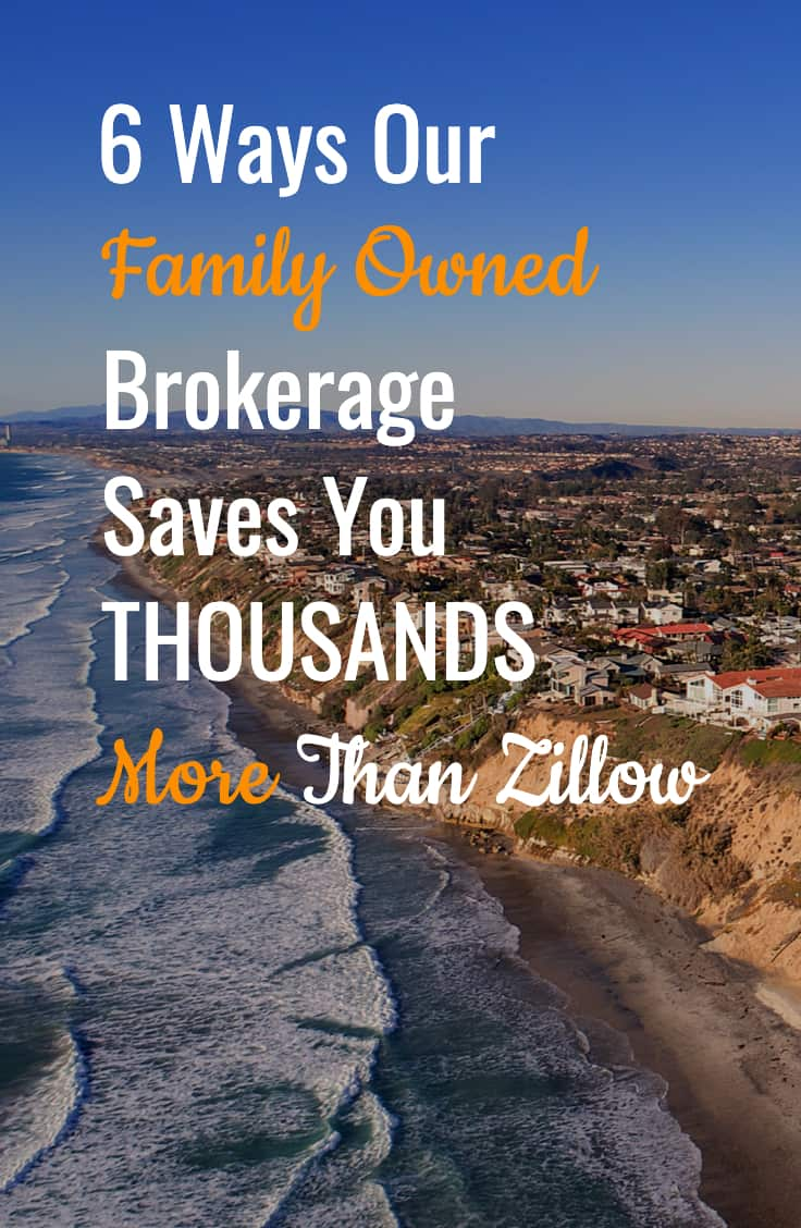 "aerial view of Oceanside, CA with title ""6 Ways Our Family Owned Brokerage Save You Thousands More than Zillow"""