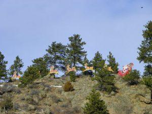 Santa Clause above Estes Park