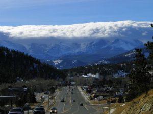 Estes Park Colorado's crown of clouds.