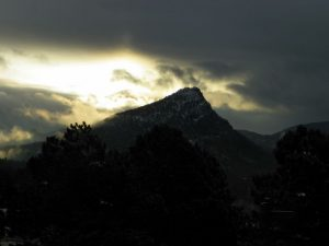 Beautiful morning in Estes Park, Colorado with sunshine on Mt Olympus