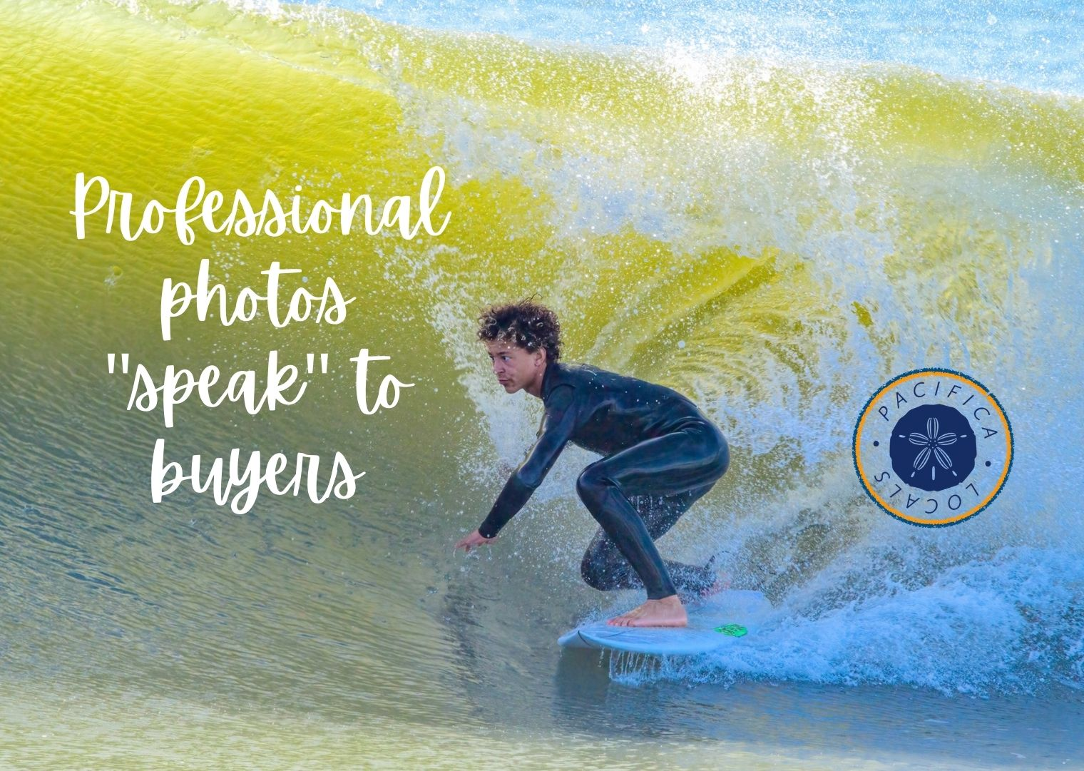 man surfing with wave coming over his head and text Professional photos speak to buyers