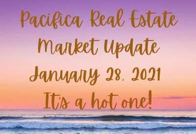 open ocean at sunset with text pacifica real estate market update january 28 2021 it's a hot one!