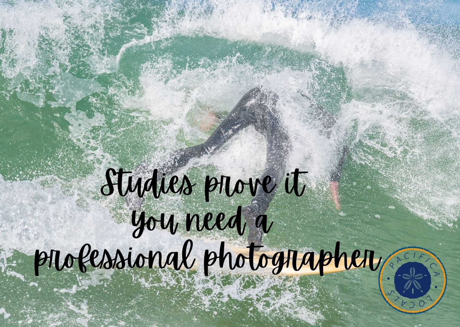 man falling off surf board with text studies prove it you need a professional photographer