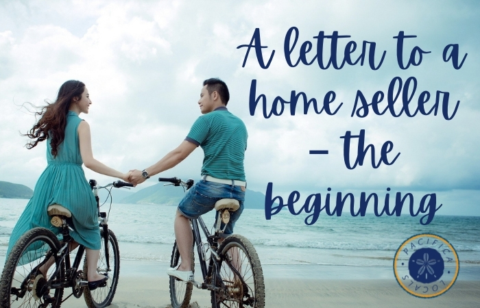 man and woman on bikes at the beach with the text A letter to a home seller – the beginning