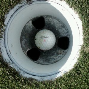 Golf ball in a golf hole