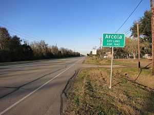 Texas State Sign of Arcola Texas
