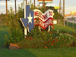 Welcome sign of Brookshire Texas