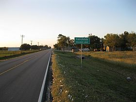 Texas State sign of Fairchilds City Limits