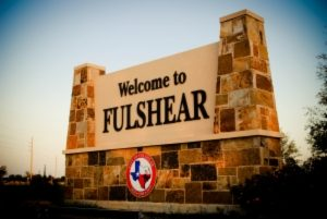 Stone wall of Welcome to Fulshear