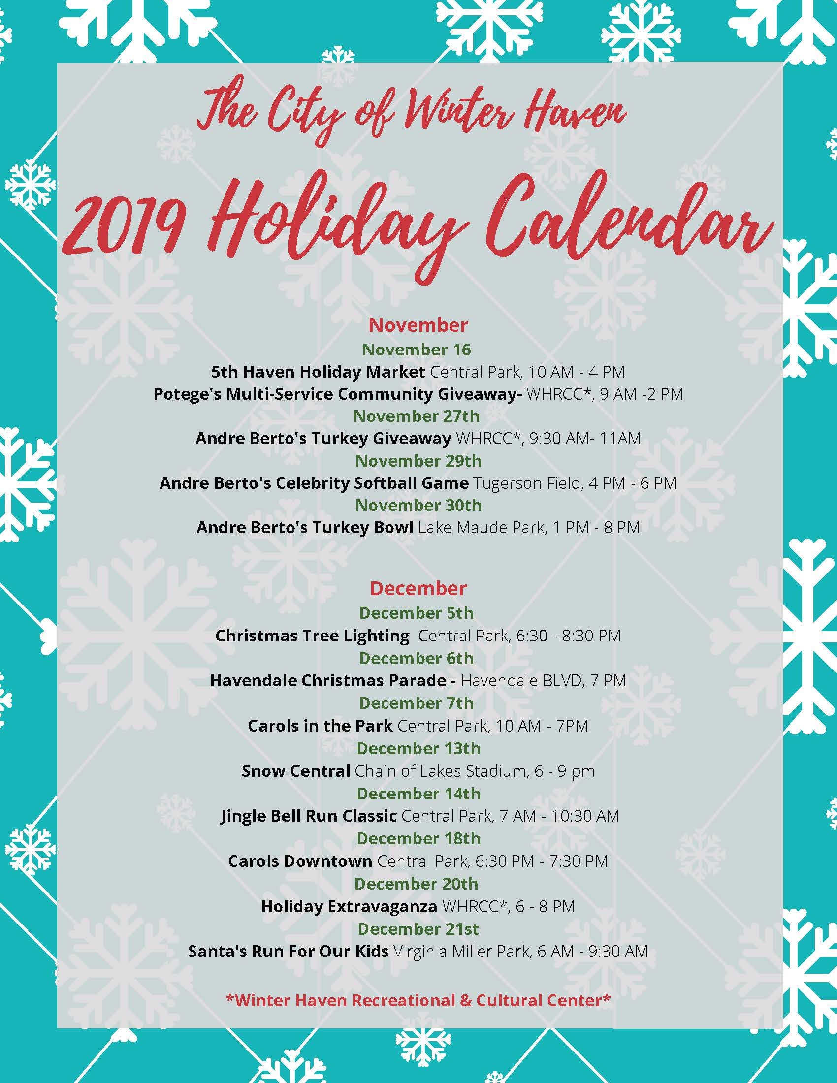 city of winter haven holiday calender 2019