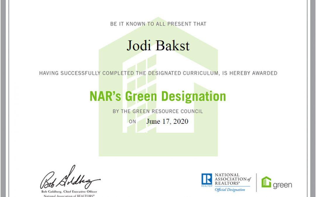 Jodi Bakst ACHIEVES NATIONAL ASSOCIATION OF REALTORS® GREEN DESIGNATION