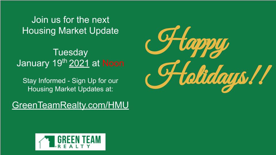 "Housing Market Update December 2020 ""Housekeeping"" details"