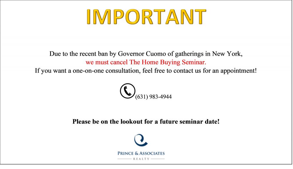 Seminar Postponed