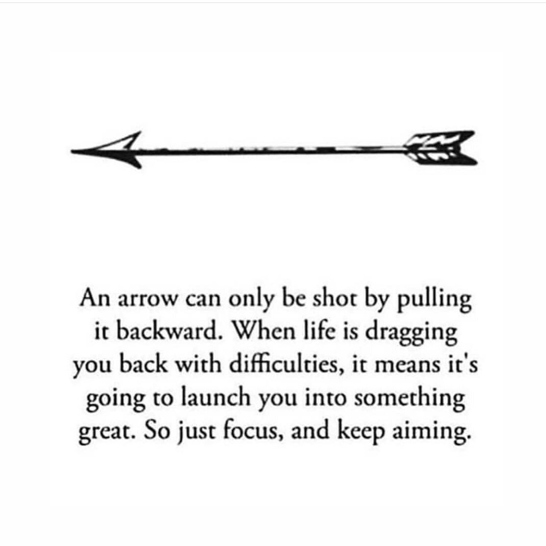Picture of and arrow with inspirational quote