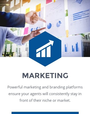 MARKETING: Powerful marketing and branding platforms ensure your agents will consistently stay in front of their niche or market.