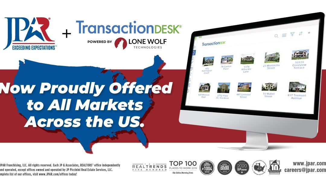 JP & Associates REALTORS® to Provide TransactionDesk, Powered by Lone Wolf, Nationwide